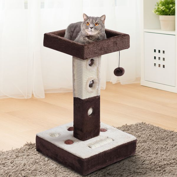 PawHut 2-tier Cat Tree Tower Scratching Post Furniture with Mice Toy Sisal Ball Roller- Beige/Coffee Brown|AOSOM.COM