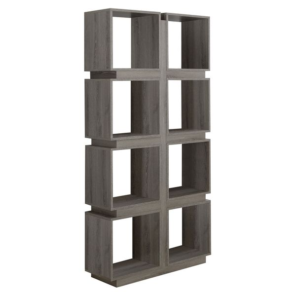 """Monarch 71"""" Modern Art-Deco Hollow-Core Bookcase with Cubic Storage Shelves and Reclaimed Wood Look Finish - Dark Taupe 