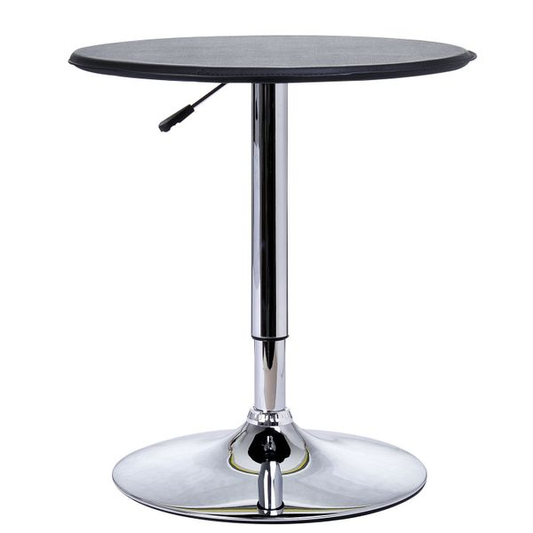 """HomCom Indoor Bistro Pub Table 25"""" Dia. Adjustable Swivel Counter Faux Leather Top Home Dining Set Black 