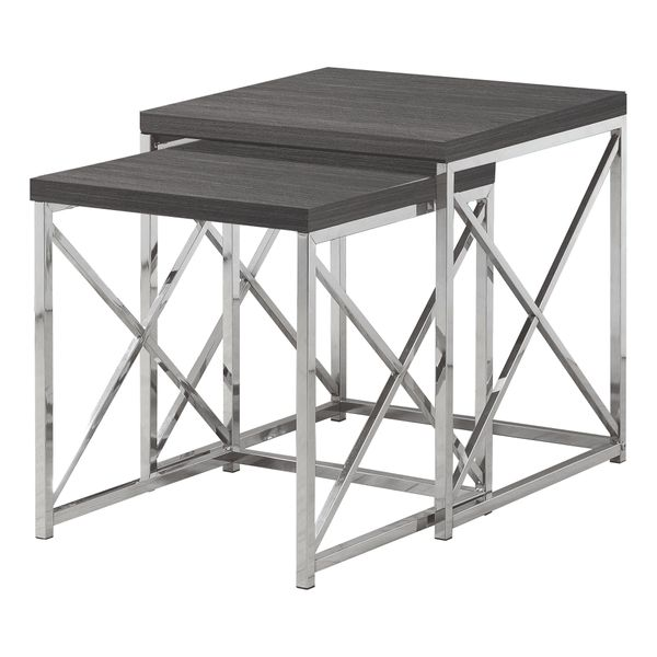 Monarch Contemporary 2 Piece Wood Grain-Look Top Chrome Metal Frame Accent Side Nesting Table Set - Grey Finish   Aosom