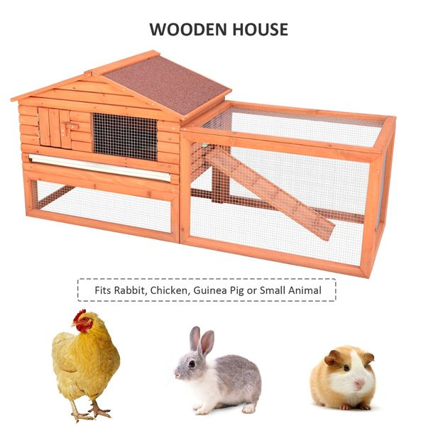 "Pawhut Large Rabbit Hutch with Outdoor Run / 62"" Wooden Cage Small Animal Playpen House Bunny Backyard large rabbit hutch with run