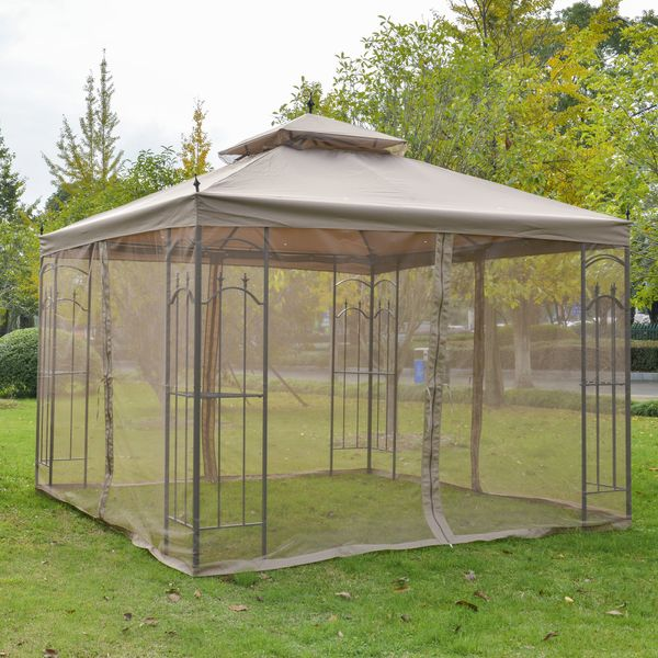 Outsunny 10' x 10' Steel Outdoor Garden Gazebo With Mesh Curtains - Brown with   Aosom