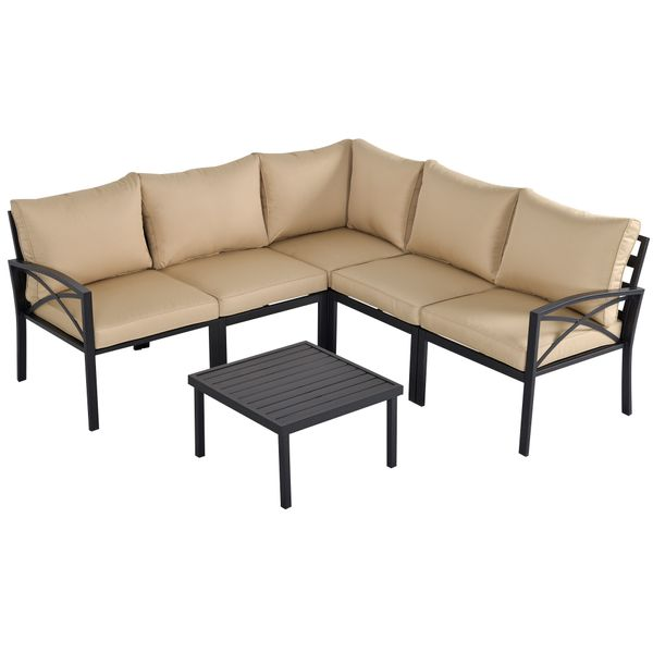 Outsunny 6-Piece Patio Furniture Set L-Shape Corner Sectional Sofa Set with Coffee Table Cushions Beige 6 PC | Aosom