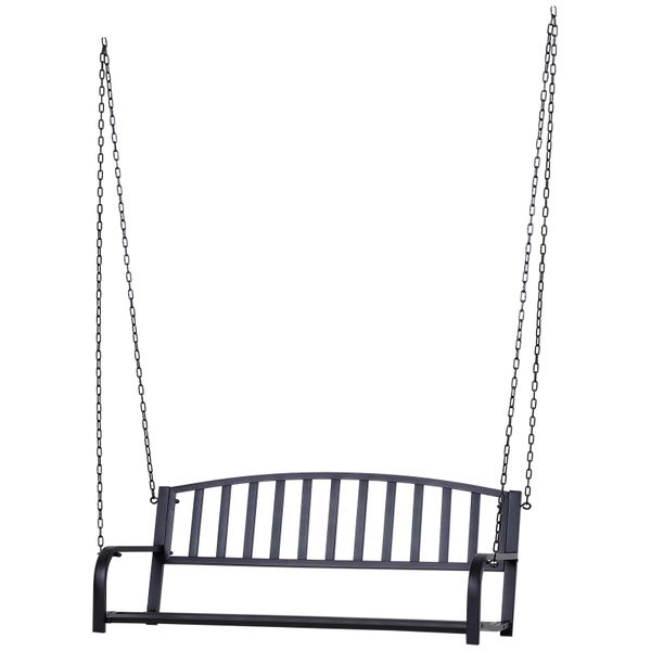 Outsunny 2 Person Outdoor Metal Hanging Patio Porch Swing Weather Resistant Steel Bench - Black / hanging porch swing
