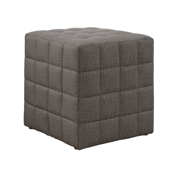 Monarch Padded Linen-Look Tufted Cube Ottoman - Light Brown | Aosom