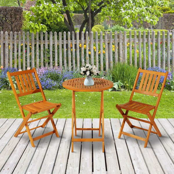 Outsunny 3-Pieces Folding Acacia Wood Patio Bistro Set Outdoor Square Table Two Chair | Aosom