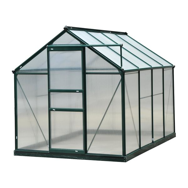 Outsunny 6'L x 8'W 7'H Polycarbonate Portable Walk-In Garden Greenhouse Aluminum Frame polycarbonate walk in greenhouse|Aosom.com