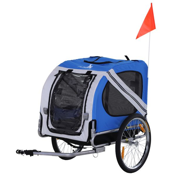 Aosom Bike Trailer & Wagon Jogger for Dogs and Pets with 3 Entrances Large Wheels for Off-Road & Mesh Screen White Fold Up Pet Bicycle Cargo Dog Cat Steel Frame Oxford Fabric | Aosom