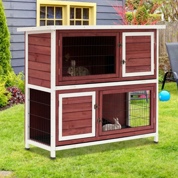 """Pawhut Outdoor Rabbit Hutch 48"""" Enclosed Raised 2 Story Wooden Rabbit Playpen Hutch With Run And Pull Out Tray / 2 Story Wooden Rabbit Hutch   Aosom"""