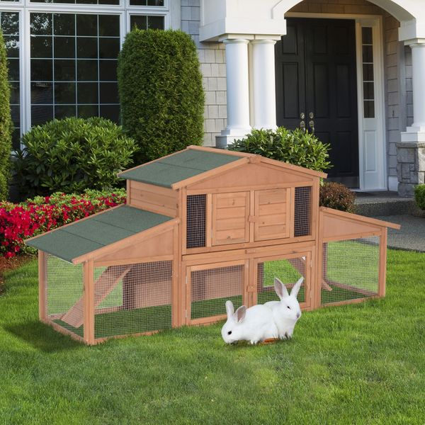 """PawHut 90"""" 2 Tier A-Frame Wooden Outdoor Rabbit Cage With Run / Hutch House 2-tier Large Outdoor Rabbit Cage 