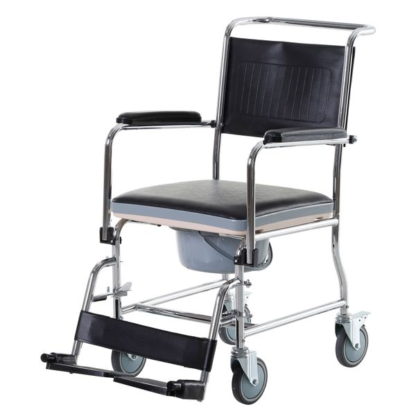 HomCom Personal Mobility Assist Bedside Commode Toilet Chair with Large Detachable Bucket & Wheelchair Design Black Rolling Shower Wheel w/ Bariatric Removable Swinging Footrest | Aosom