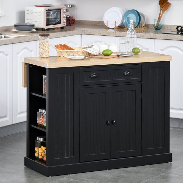 HOMCOM Fluted-Style Wooden Kitchen Island Cabinet with Drop Leaf  Drawer  Open Shelving  and Interior Shelving  Black 1 | Aosom