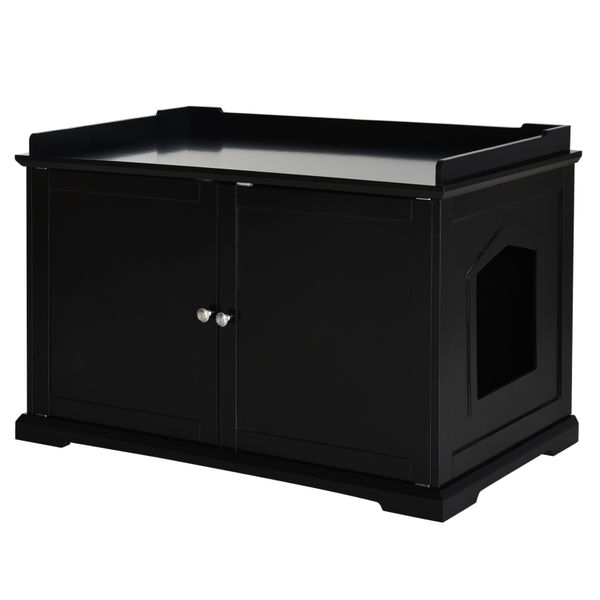 """PawHut 37.5"""" Wooden Covered Mess Free Cat Litter Box End Table Hideaway Cabinet with Storage for Accessories Black Pawhut 2-in-1 Washroom Home Decor 