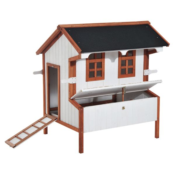 """PawHut 43"""" Wooden Cottage Raised Portable Backyard Chicken Coop With Nesting Box Hen Cage raised wooden chicken coop