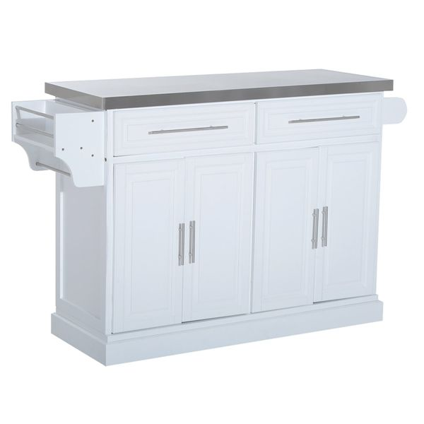 HomCom Wood Kitchen Cart Island Storage Cabinet Drawers Rolling Utility Trolley | Aosom