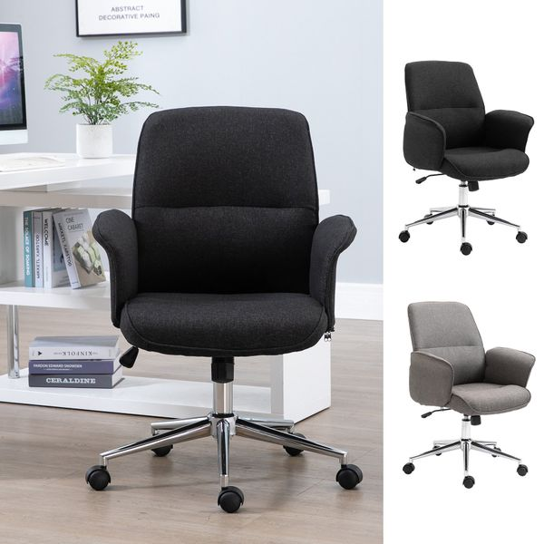Adjustable Linen Fabric Swivel Home Office Chair with Arms  Upholstered  Mid Back|AOSOM.COM