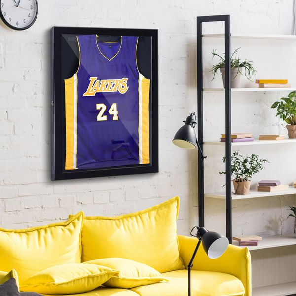 "HomCom 32"" x 24"" Wall Mounted Jersey Memorabilia Shadow Box Display Case Football Baseball Basketball Sports Presentation Collection 