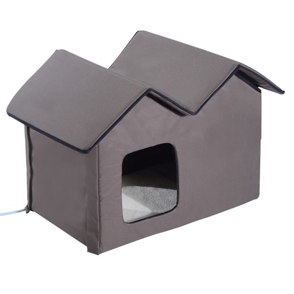 PawHut Outdoor Electric Heated Kitty Cat House Bed Waterproof Winter Shelter Warm | Aosom
