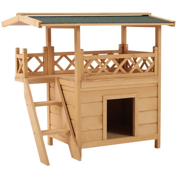 PawHut 2-Story Indoor/Outdoor Wood Cat House Pet Kitten Durable Shelter with Roof   Aosom
