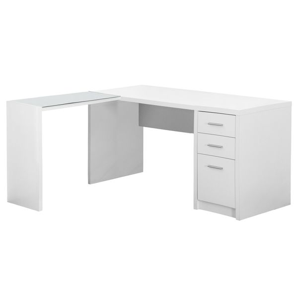Monarch Contemporary L-Shaped Corner Computer Desk with Storage Drawers, File Drawer and Side Table with Tempered Glass Top - White | Aosom