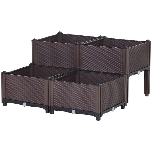 Outsunny 4-piece PP Raised Flower Bed Vegetable Herb Grow Box Stand Elevated Plastic|AOSOM.COM