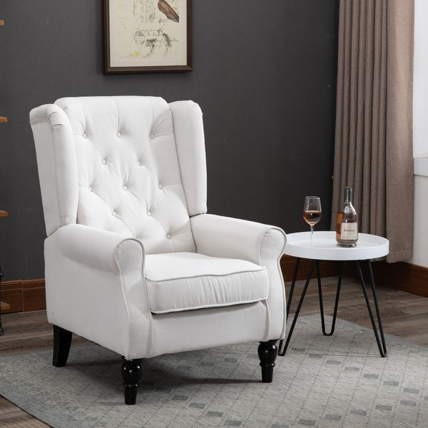 HOMCOM Fabric Tufted Club Rolled Arm Accent Chair with Wooden Legs  Cream White | Aosom