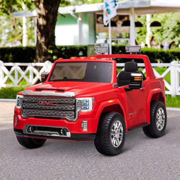 Aosom Compatible 12V Battery-powered Kids Electric Ride On Car GMC Sierra HD Pickup Truck Toy with Parental Remote Control Music Lights MP3 Suspension Wheels for 3-8 Years Old Red w/ Yrs   Aosom