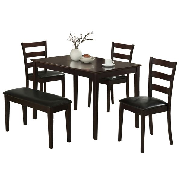 """Monarch 5 Piece 47"""" Wooden Table, Slat Back Side Chairs and PU Leather Padded Bench Dining Set - Cappuccino Brown 