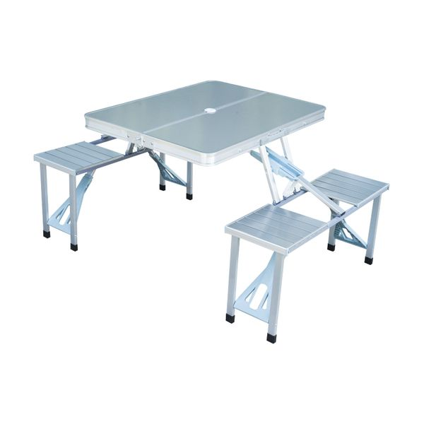 Outsunny Aluminum Portable Folding Picnic Table / Outdoor Camp Suitcase with 4 Seats, Silver folding portable picnic table w/Case | Aosom