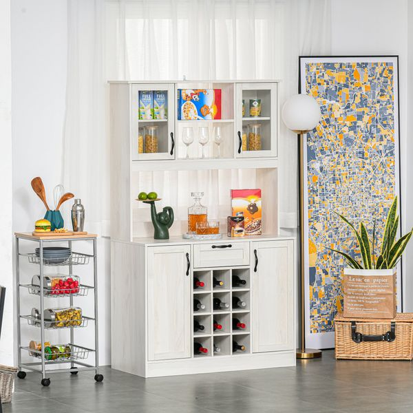 HOMCOM Kitchen Buffet Hutch Cupboard with Utility Drawer, 4 Door Cabinets,  and Optional 12-Bottle Wine Storage, White Cabinets   Aosom