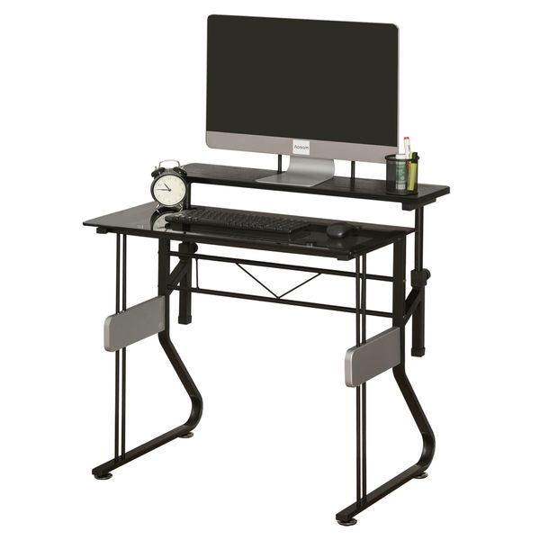 Homcom Small Computer Desk Writing Pc Computer Desk With Height Adjustable Monitor Stand And Foot Pads For Home Office Workstation W Tempered Glass Tabletop Height Adjustable Shelf Black Computer Desks Aosom