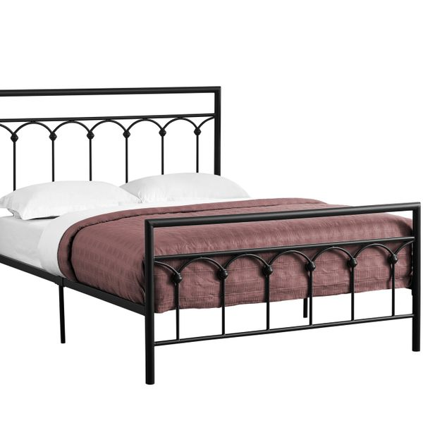 "Monarch 56"" Contemporary Veritcal Slat Arch Accent Metal Bed Frame - Full Size - Black Finish 