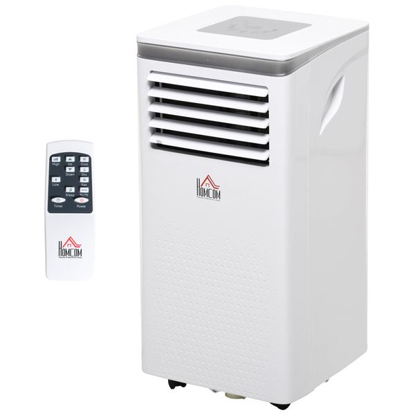 HOMCOM 10000 BTU Portable Mobile Air Conditioner Cooling Dehumidifying Ventilating with Remote Controller, LED Display, 2 Speed Fan, 24-Hour Timer for Bedroom, Living Room, Office White   Aosom