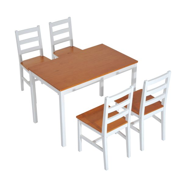 HomCom 5 Piece Solid Pine Wood Table and Chairs Dining Set|AOSOM.COM