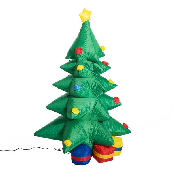 HomCom 4 Foot Tall Lighted Christmas Inflatable Holiday Tree Outdoor Lawn Decoration | Aosom