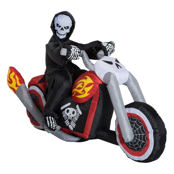 """HomCom 7.5"""" Grim Reaper Riding Motorcycle LED Lighted Halloween Inflatable Yard Decoration / Airblown halloween inflatable grim reaper motorcycle decoration 