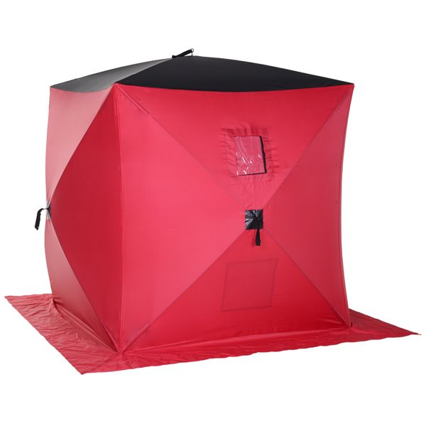 Outsunny 2 Person Pop Up Clam Ice Fishing Tent Portable Insulated Shelter Red|AOSOM.COM
