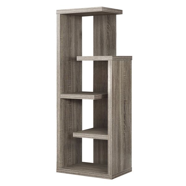 """Monarch 48"""" Modern 5-Tier Open Concept Display Shelves Wood Grain-Look Bookcase - Dark Taupe Finish 