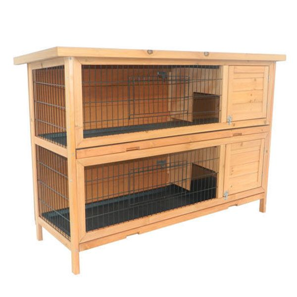 Pawhut 2-Story Wooden Rabbit Hutch / 2 Story Stacked Outdoor Bunny Hutch/Guinea Pig House Wood Small Animal Habitat Water Resistant Stories Two Story Rabbit Hutch | Aosom