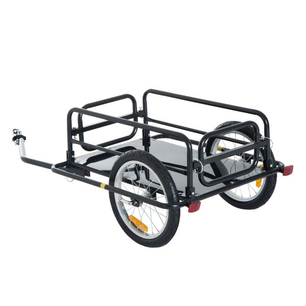 Aosom 110lbs Wanderer Cargo Bike Trailer Steel Frame Folding Bicycle Storage Cart and Luggage Carrier with Hitch | Aosom