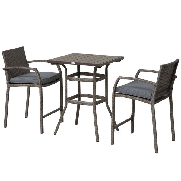 Outsunny 3 Piece Outdoor PE Rattan Wicker Patio Conversation Table Set with 2 Chairs & 1 Center Coffee Table Grey 3-pcs Barstool Footrest | Aosom