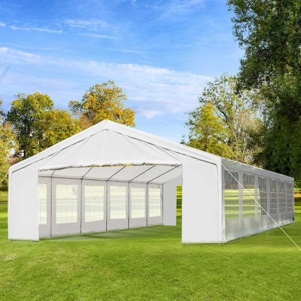 Outsunny 40' x 20' Heavy Duty Carport Lightweight Durable Party Tent Event Canopy with Sidewalls and Windows - White | Aosom