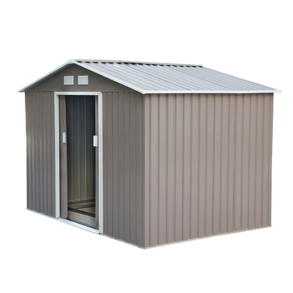 Outsunny 9' x 6' Outdoor Backyard Metal Garden Utility Storage Shed Garage Steel Tool Kit House with Sliding Door - Grey/White | Aosom