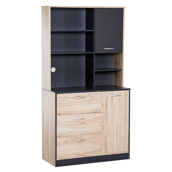 "HOMCOM 67"" Wood Free Standing Kitchen Pantry Organizer Storage Cabinet - Black and Oak / freestanding kitchen storage cabinet 