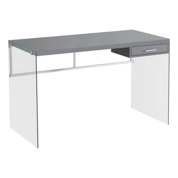 """Monarch 48"""" Contemporary Glass Legged Writing Computer Desk with Drawer - Glossy Grey 