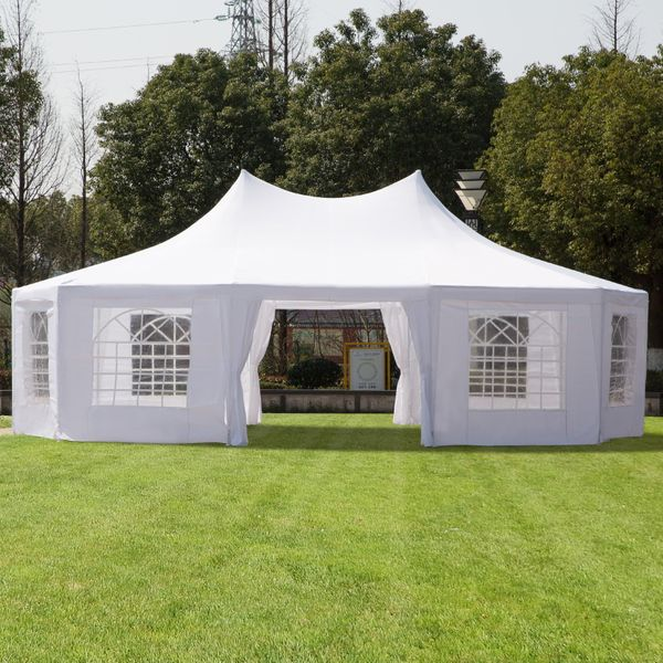 Outsunny Large Decagon 10-Wall Gazebo Canopy Tent Outdoor 29'x21' White Decagonal Canopy Tent For Patio Wedding Party   Aosom