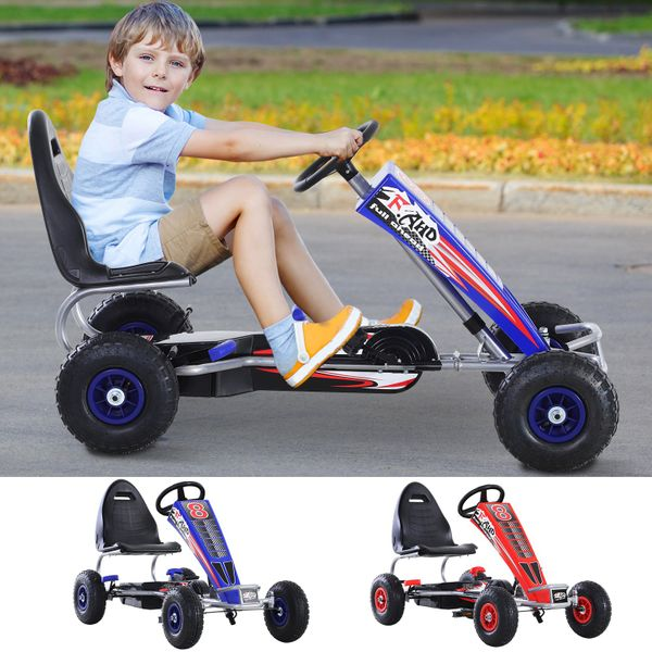 Pedal Powered Metal Go Kart Racer for Kids | Aosom