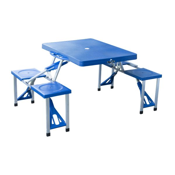 Outsunny Portable Folding Picnic Table - Blue Lightweight Suitcase w4 Built-In Chairs, portable folding picnic table   Aosom
