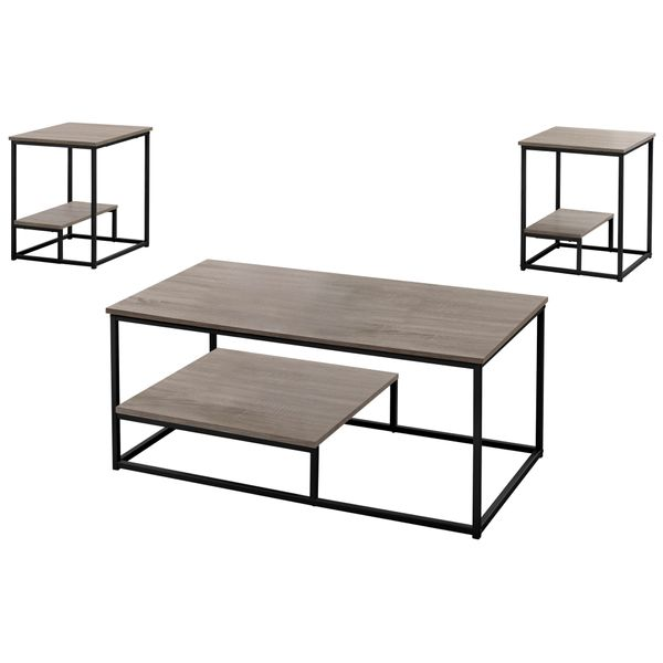 Monarch 3 Piece Modern Minimalist Wood-Look Coffee Table / Two Matching End Tables Set - Dark Taupe / Black Metal   Aosom