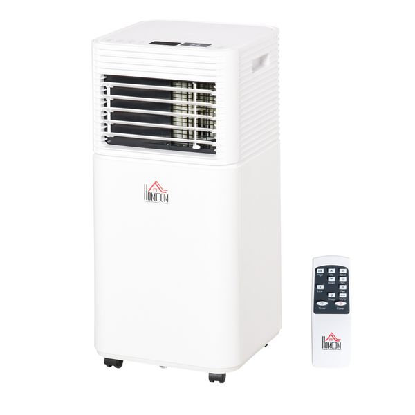 HOMCOM 10000BTU Portable Mobile Air Conditioner Cooling Dehumidifying Ventilating with Remote Controller, LED Display, 2 Speed Fan, 24-Hour Timer for Bedroom, Living Room, Office White | Aosom